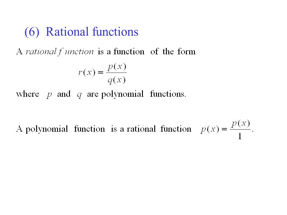 (6) Rational functions
