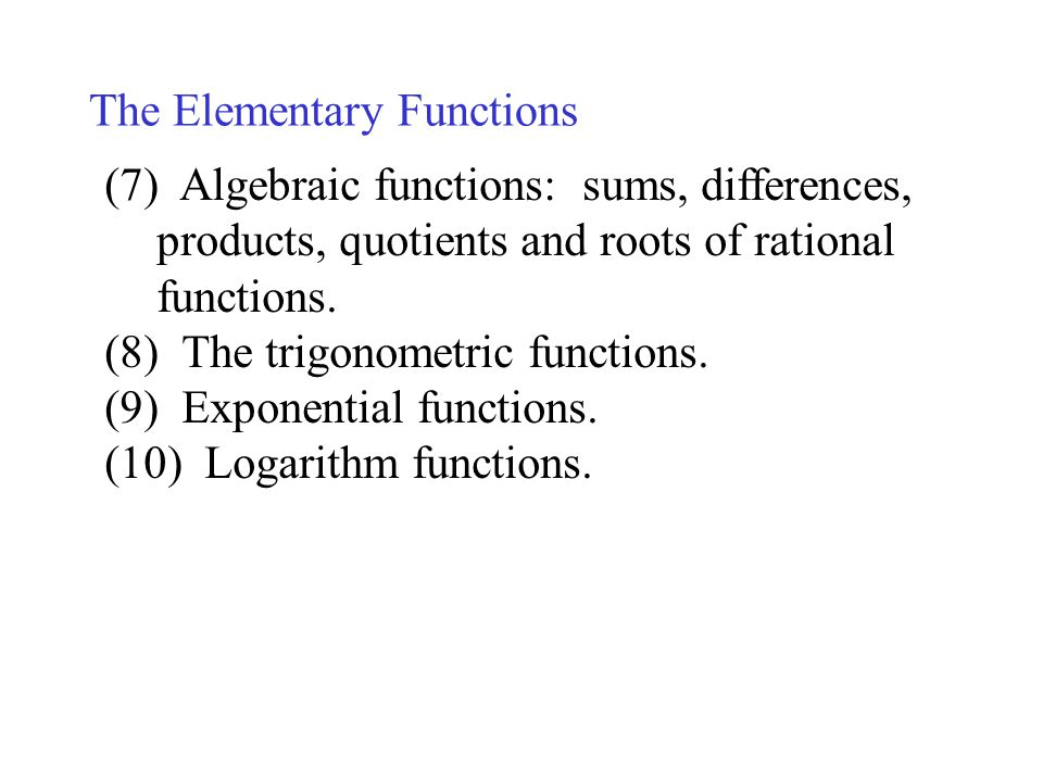The Elementary Functions