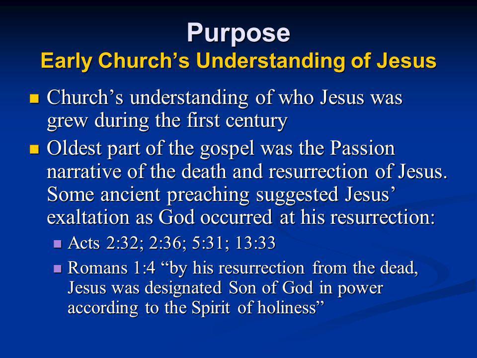 Purpose Early Church's Understanding of Jesus