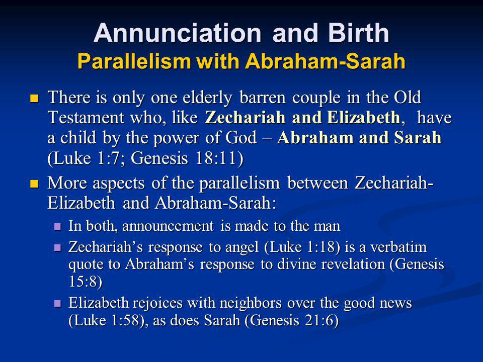 Annunciation and Birth Parallelism with Abraham-Sarah