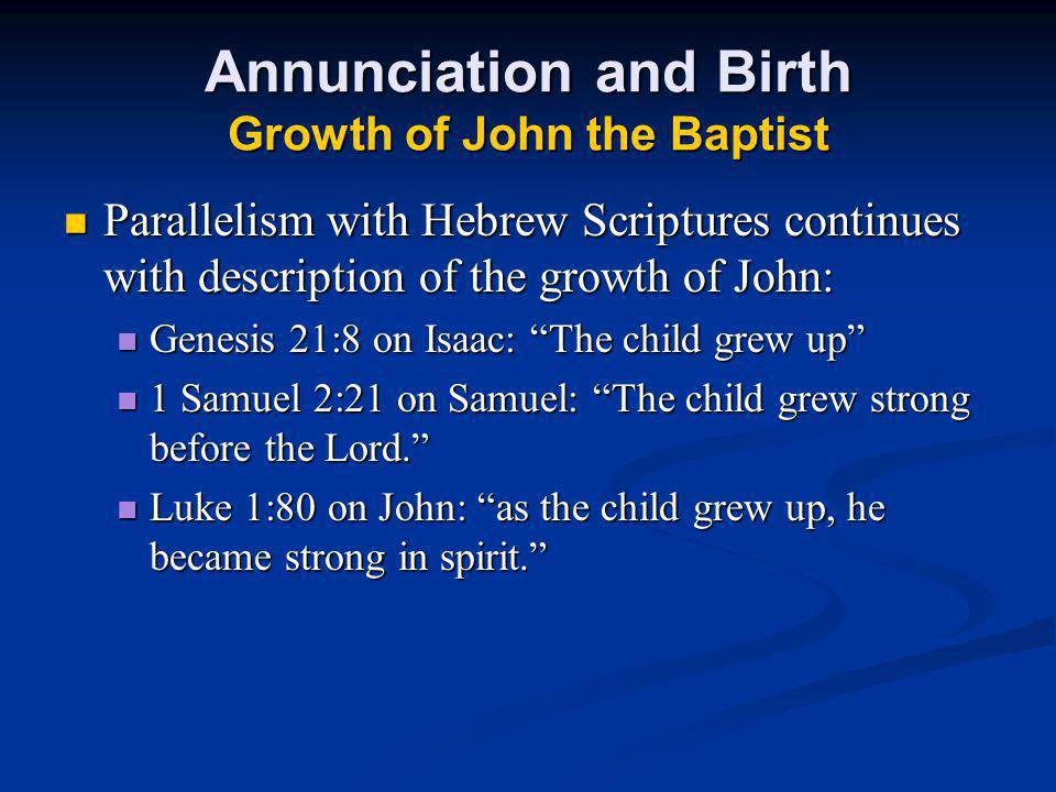 Annunciation and Birth Growth of John the Baptist