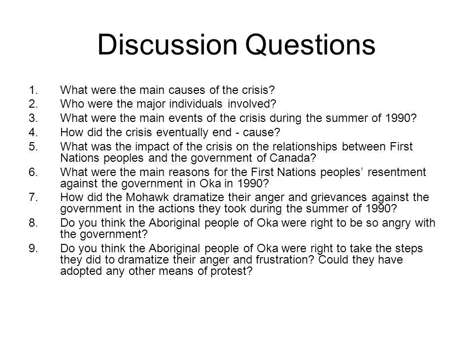 Discussion Questions What were the main causes of the crisis