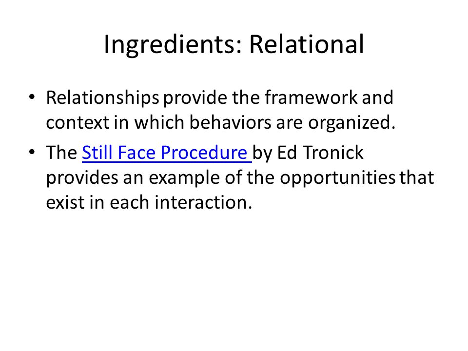 Ingredients: Relational