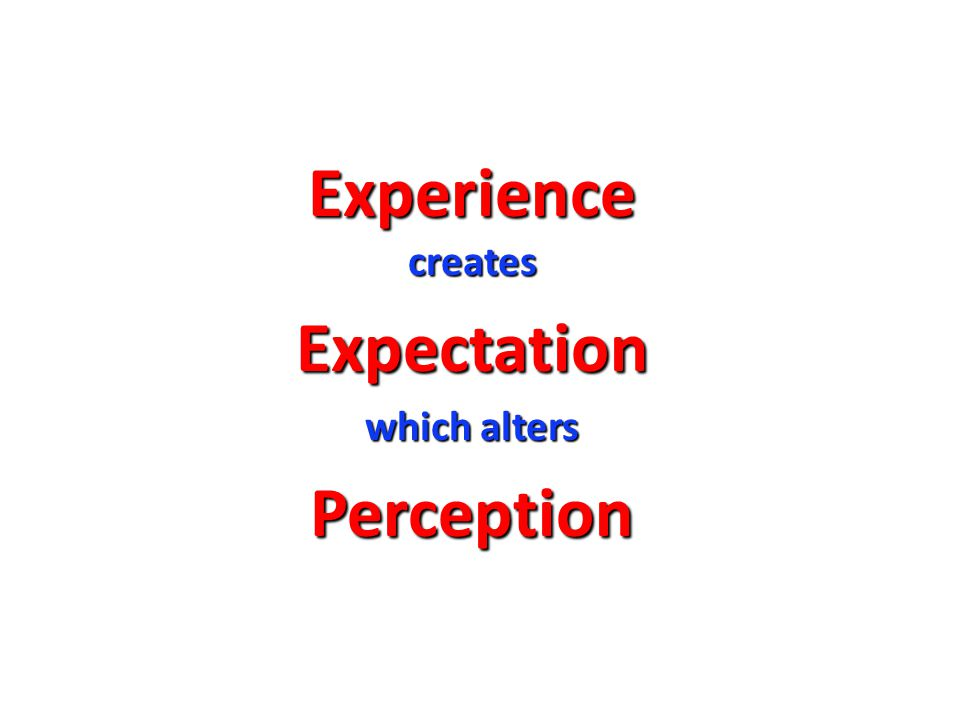Experience creates Expectation which alters Perception