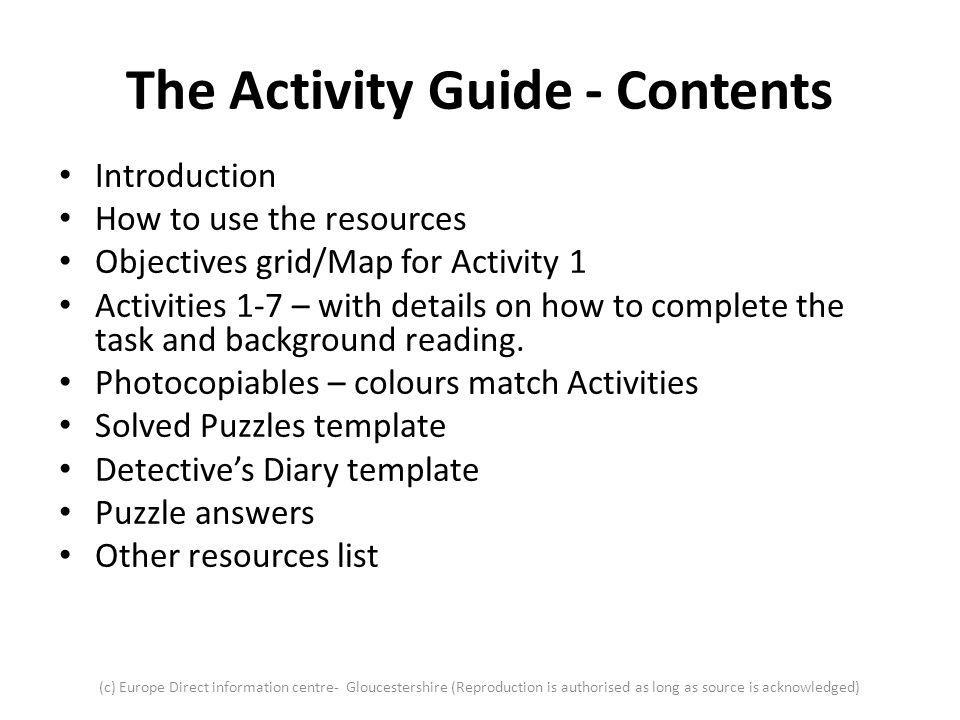 The Activity Guide - Contents