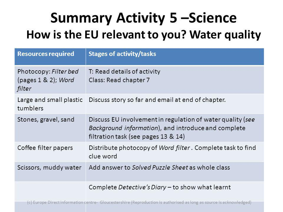 Summary Activity 5 –Science How is the EU relevant to you