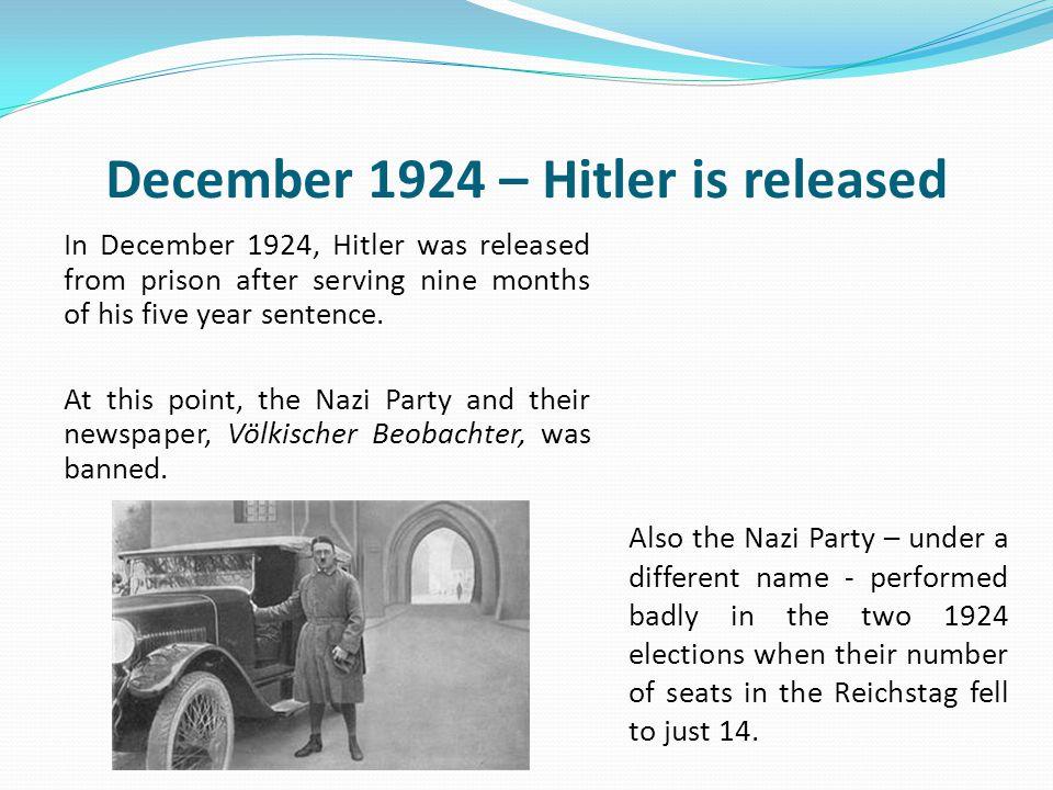 December 1924 – Hitler is released