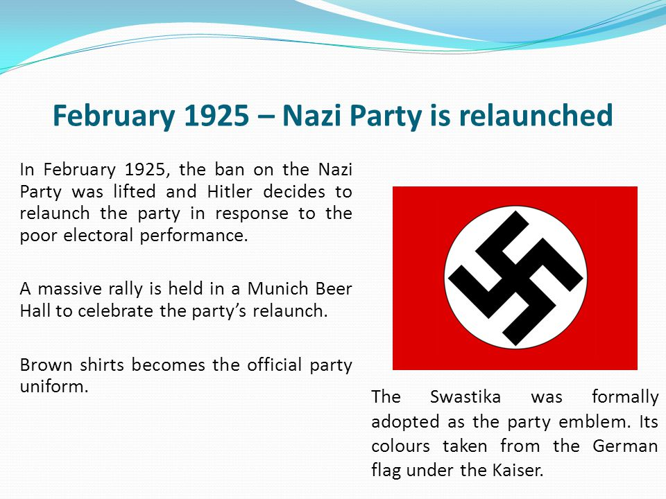 February 1925 – Nazi Party is relaunched