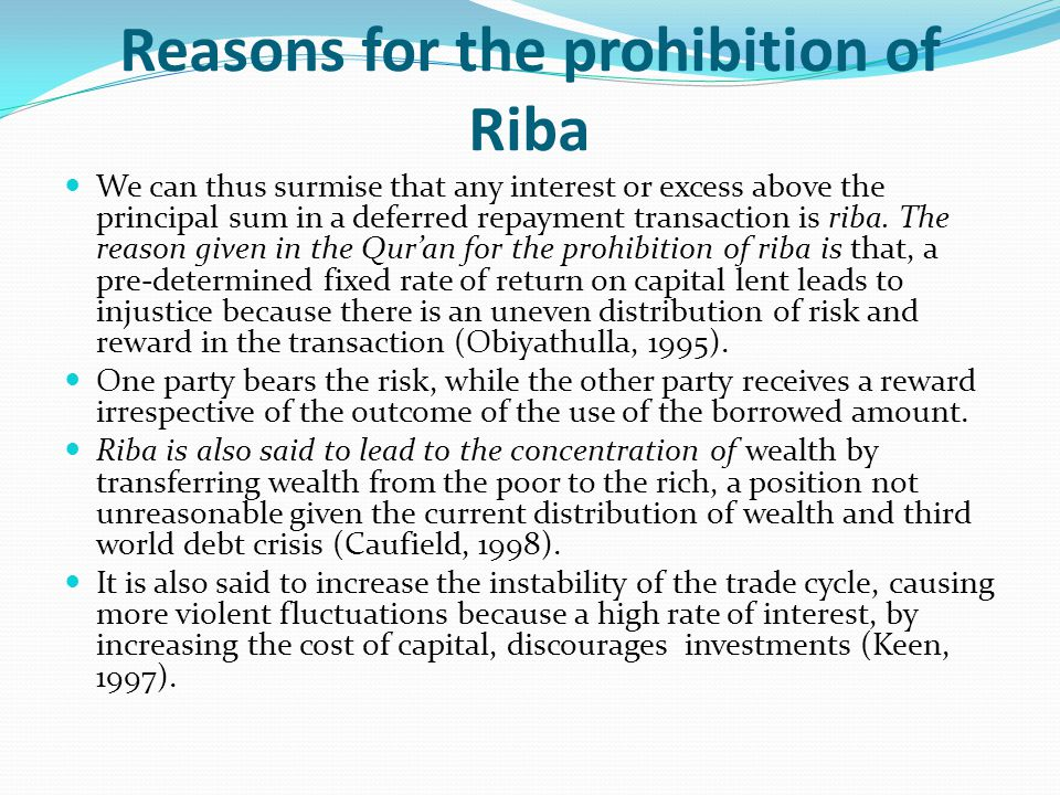 Reasons for the prohibition of Riba