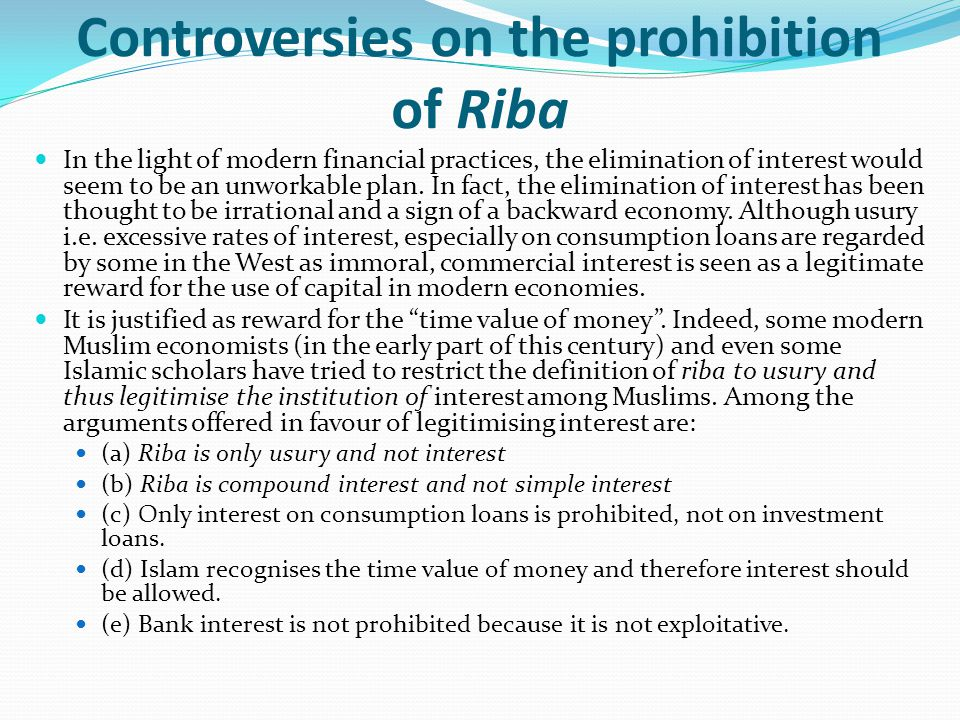 Controversies on the prohibition of Riba