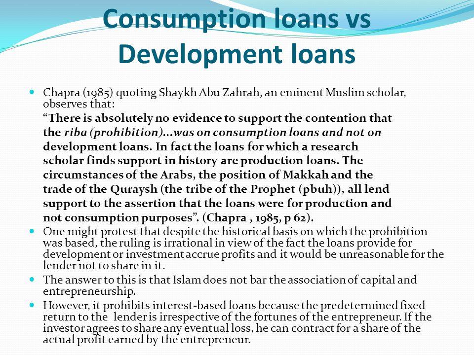 Consumption loans vs Development loans