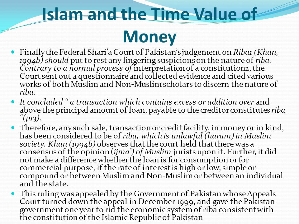 Islam and the Time Value of Money