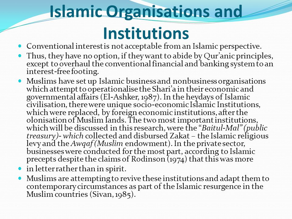 Islamic Organisations and Institutions