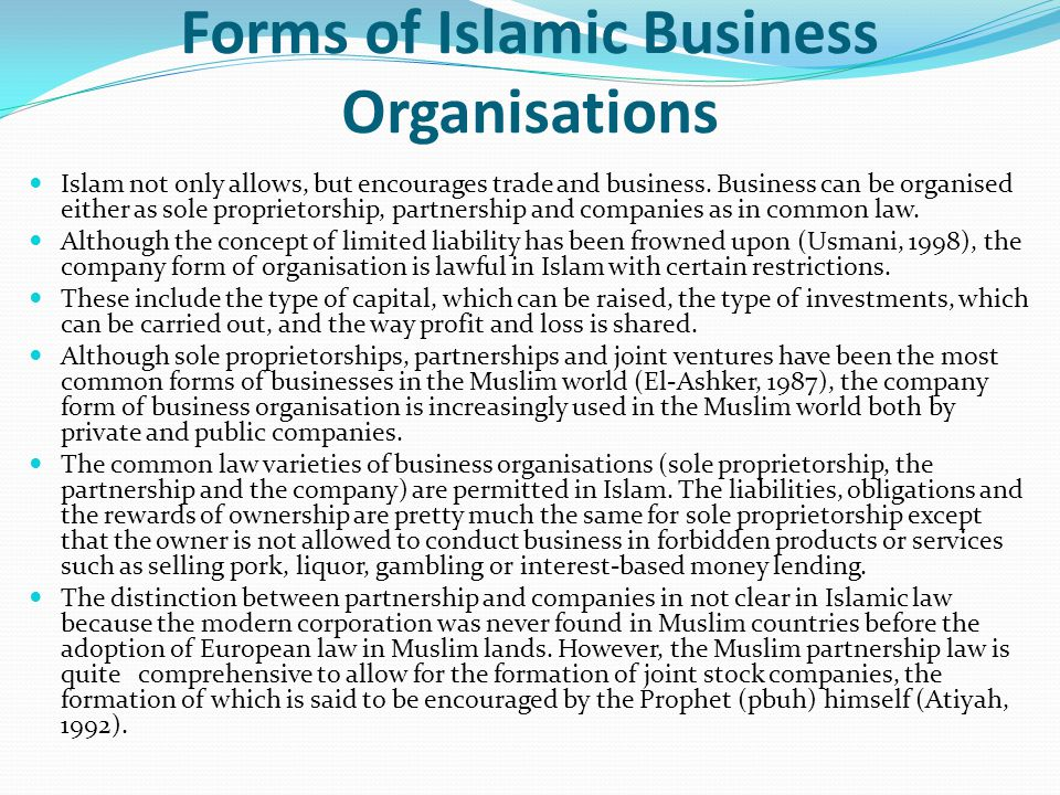 Forms of Islamic Business Organisations