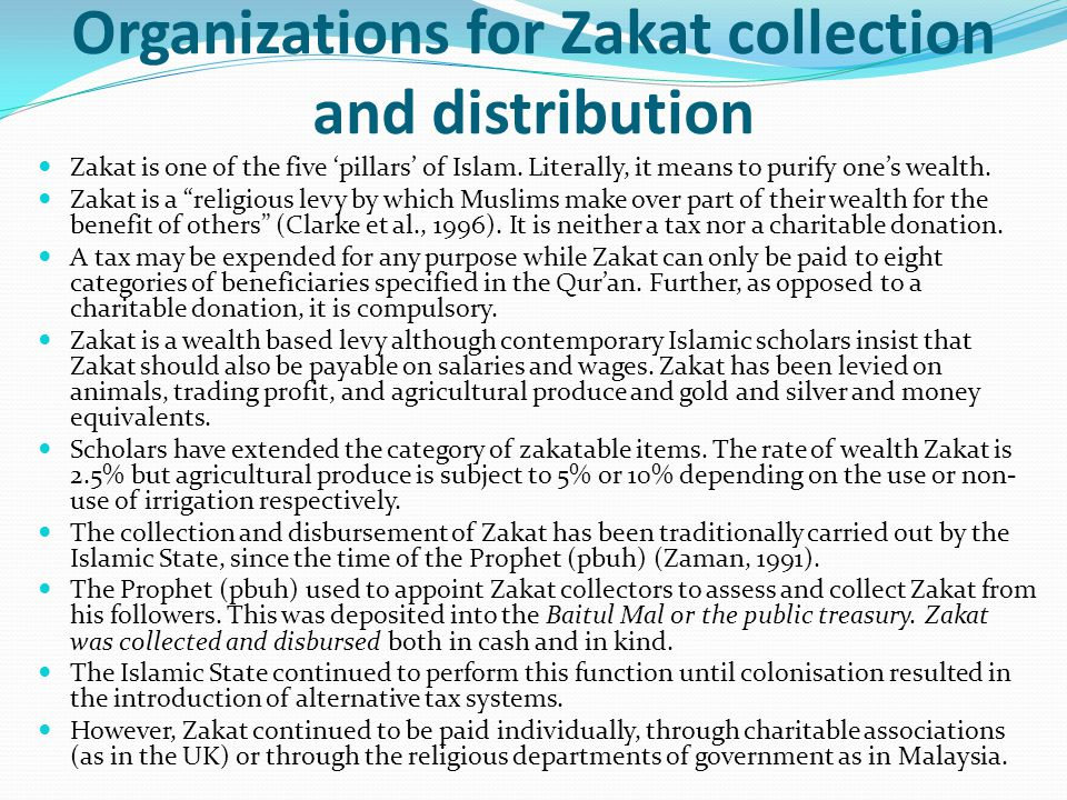 Organizations for Zakat collection and distribution