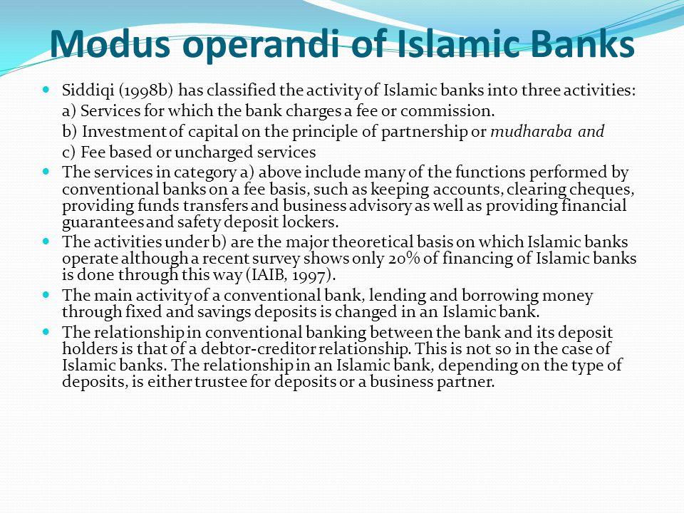 Modus operandi of Islamic Banks