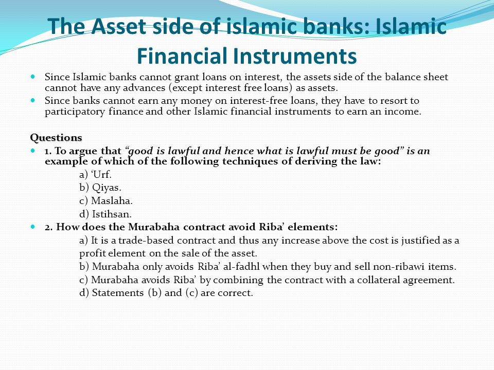 The Asset side of islamic banks: Islamic Financial Instruments