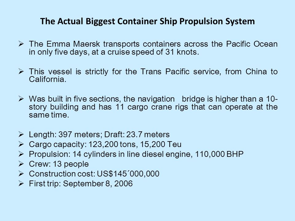 The Actual Biggest Container Ship Propulsion System