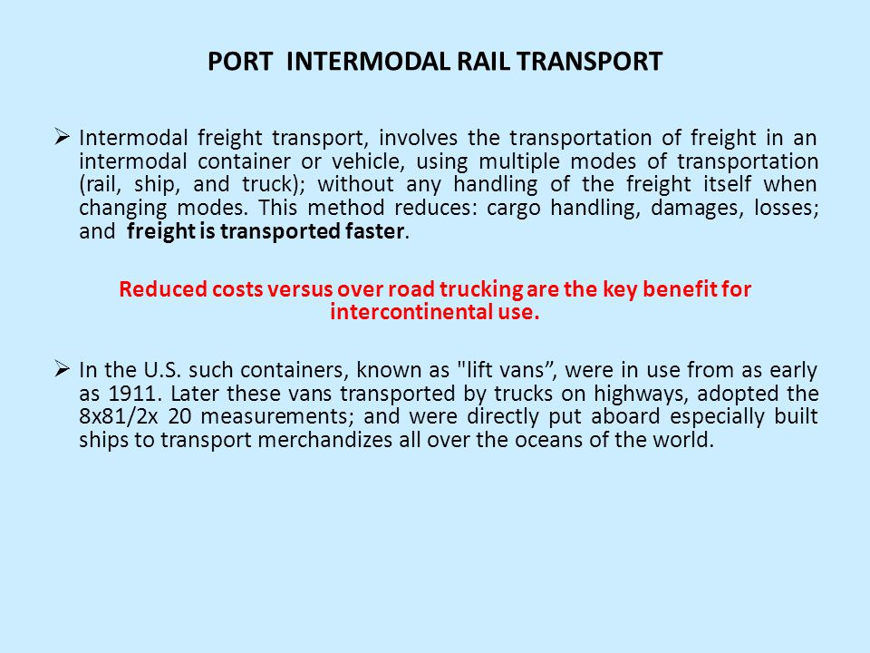 PORT INTERMODAL RAIL TRANSPORT