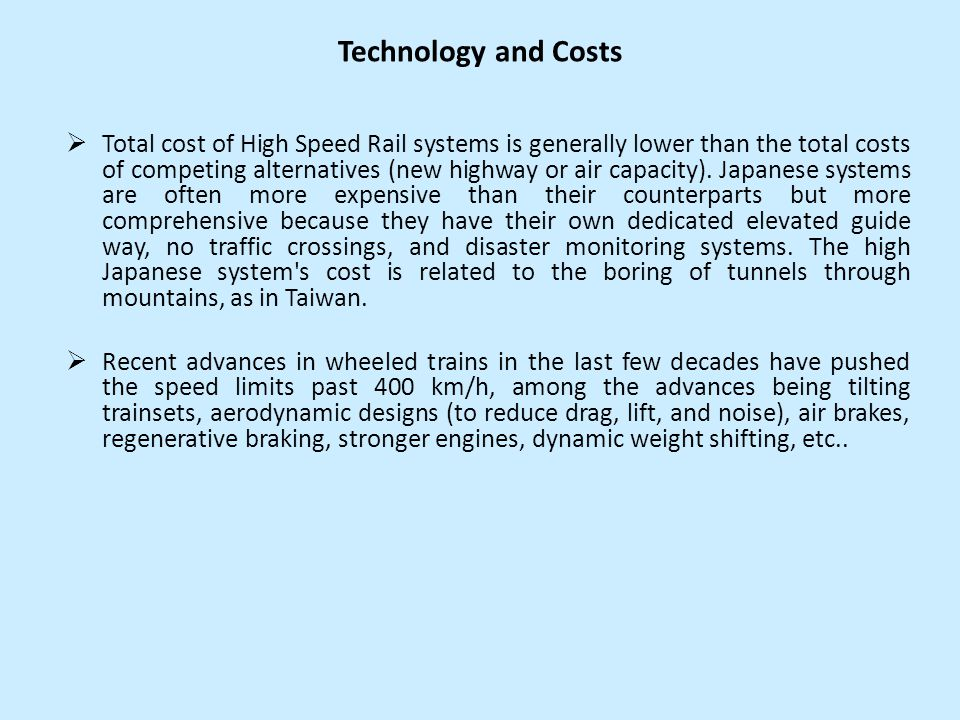 Technology and Costs