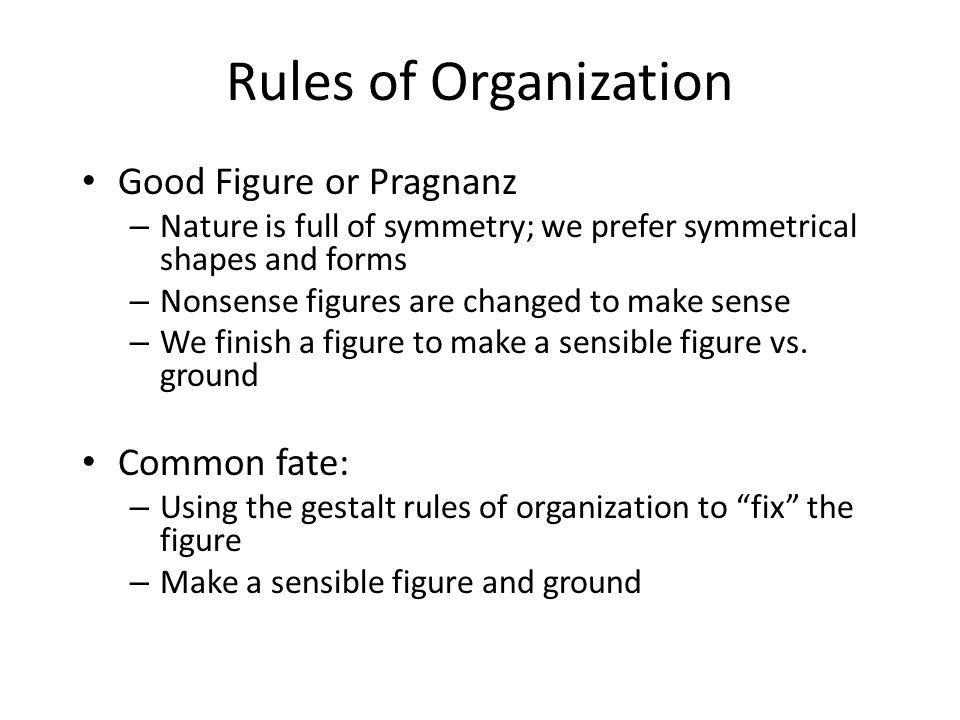 Rules of Organization Good Figure or Pragnanz Common fate: