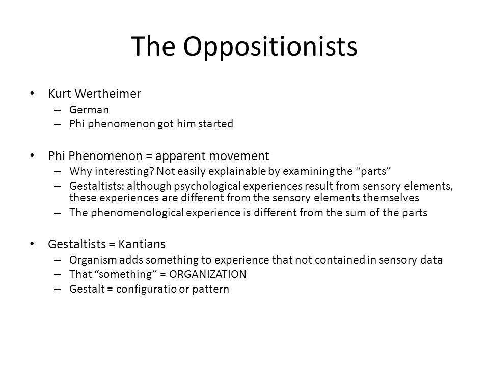 The Oppositionists Kurt Wertheimer Phi Phenomenon = apparent movement