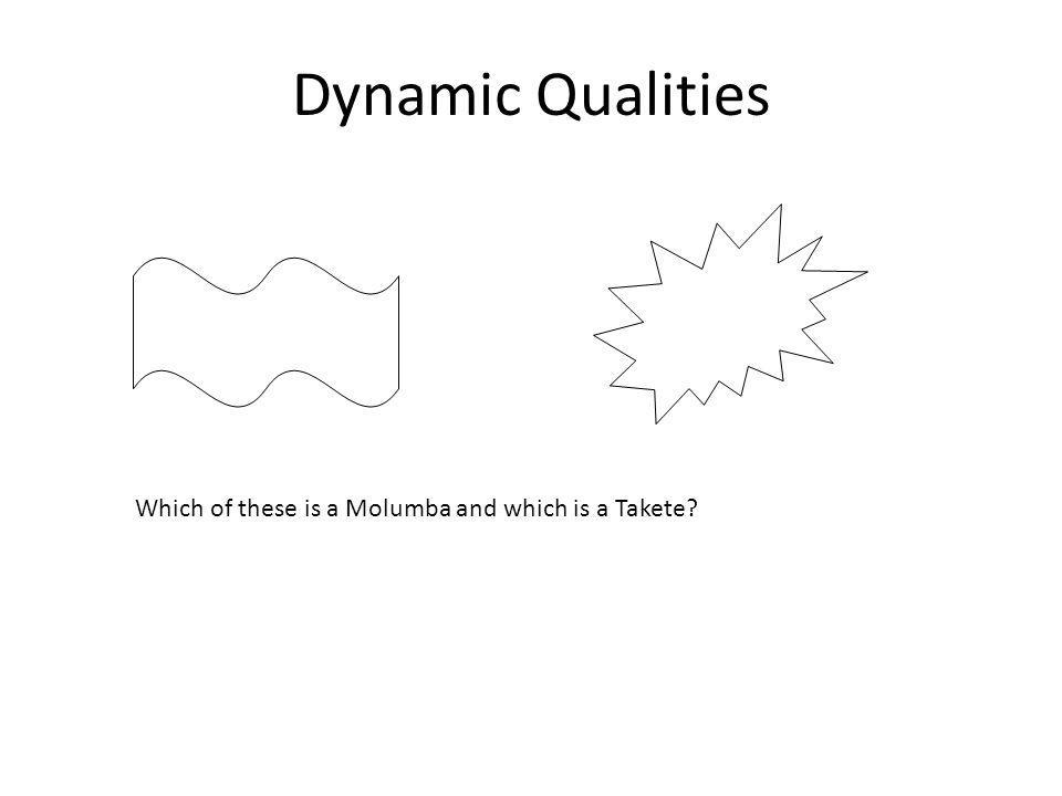Dynamic Qualities Which of these is a Molumba and which is a Takete