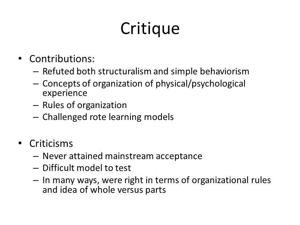 Critique Contributions: Criticisms