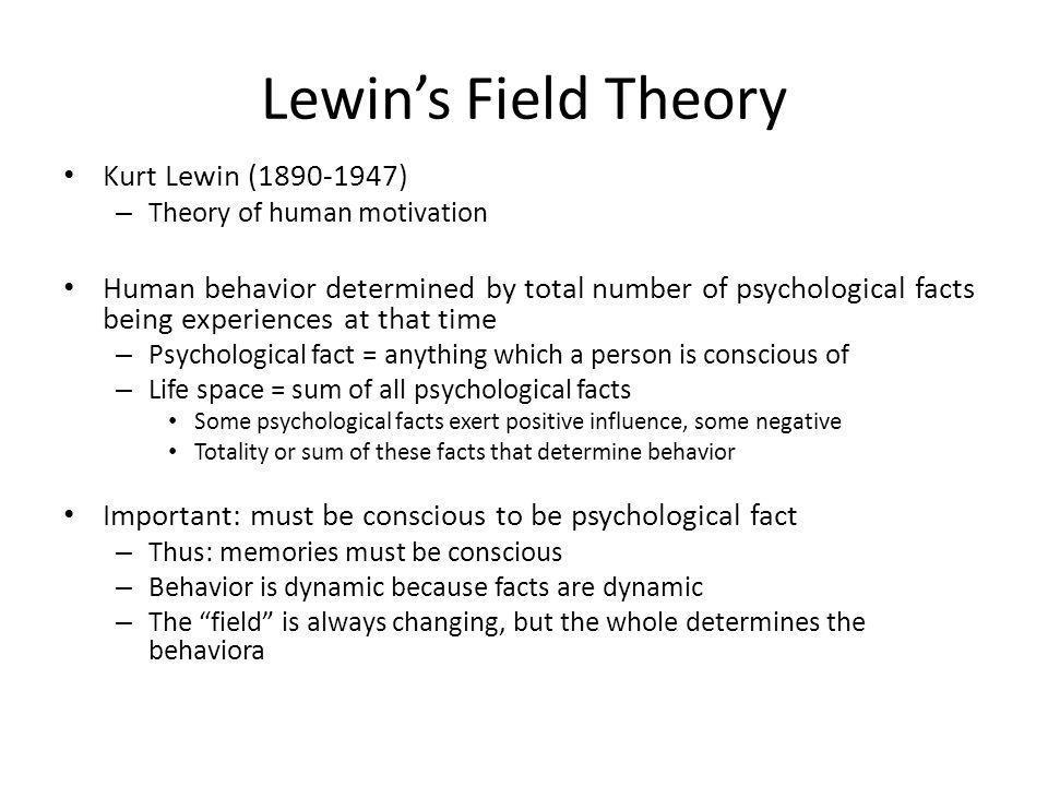 Lewin's Field Theory Kurt Lewin (1890-1947)