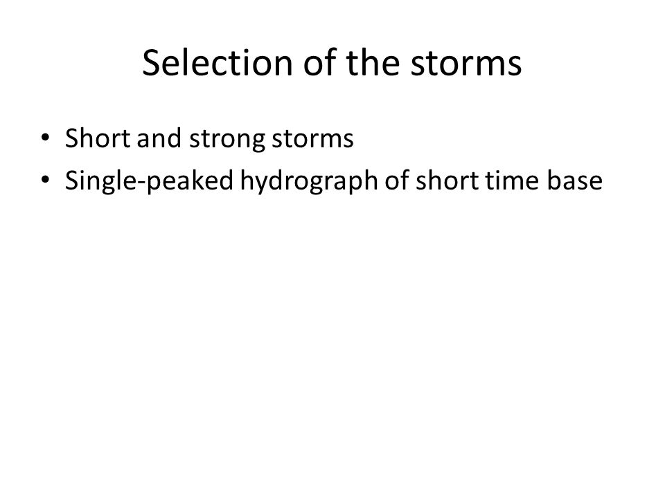 Selection of the storms