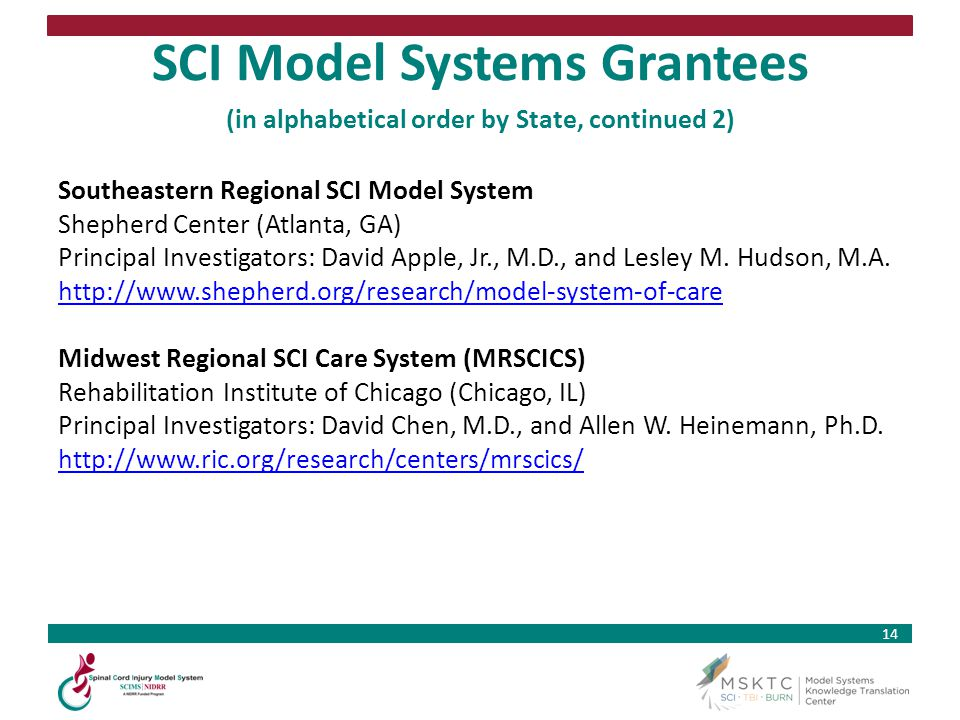 SCI Model Systems Grantees (in alphabetical order by State, continued 2)
