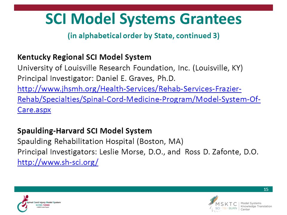 SCI Model Systems Grantees (in alphabetical order by State, continued 3)