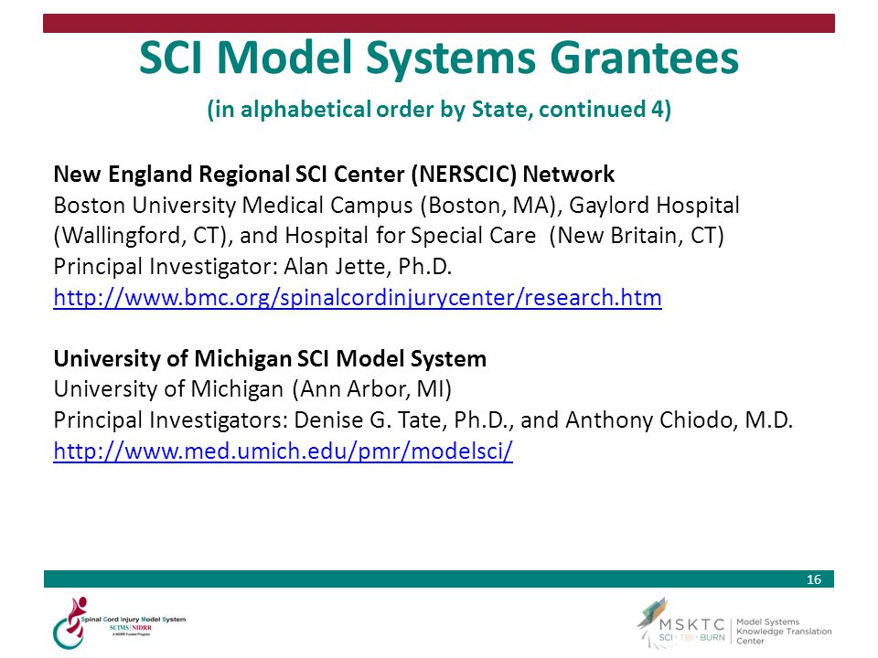 SCI Model Systems Grantees (in alphabetical order by State, continued 4)