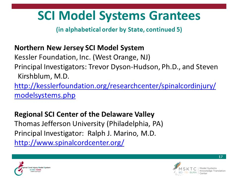SCI Model Systems Grantees (in alphabetical order by State, continued 5)