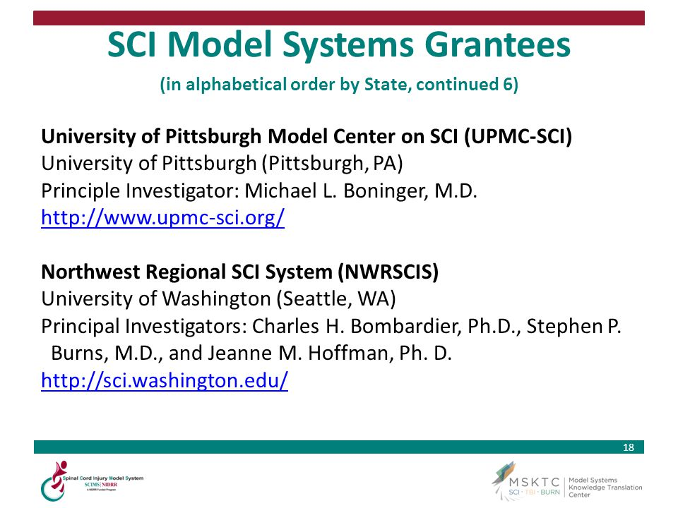 SCI Model Systems Grantees (in alphabetical order by State, continued 6)
