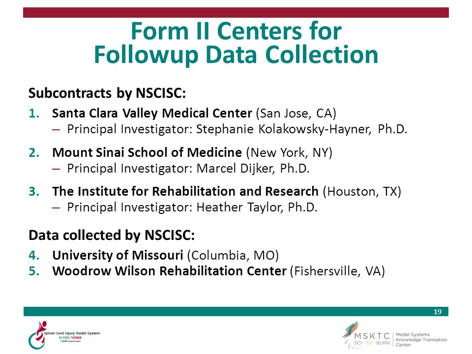 Form II Centers for Followup Data Collection