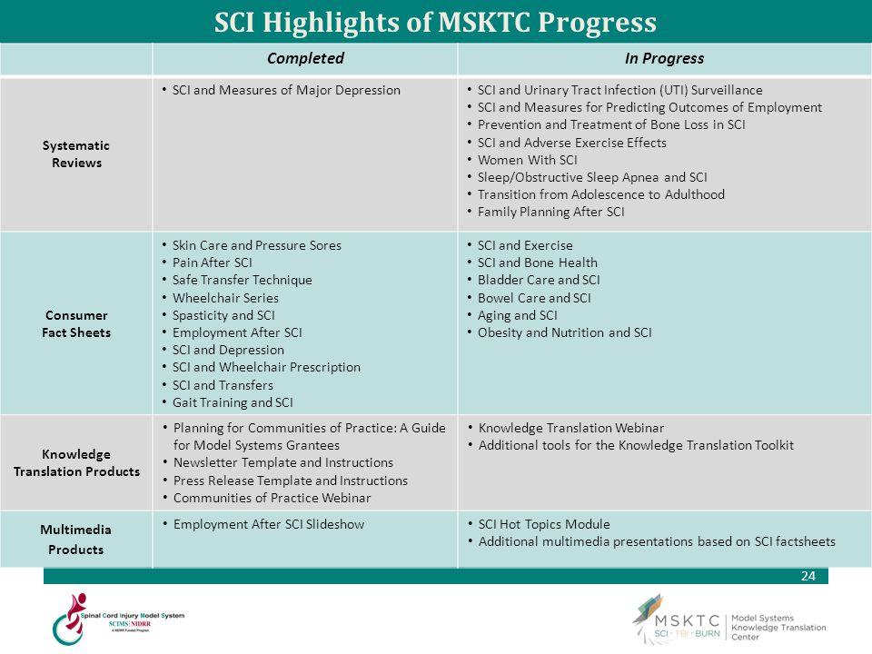 SCI Highlights of MSKTC Progress