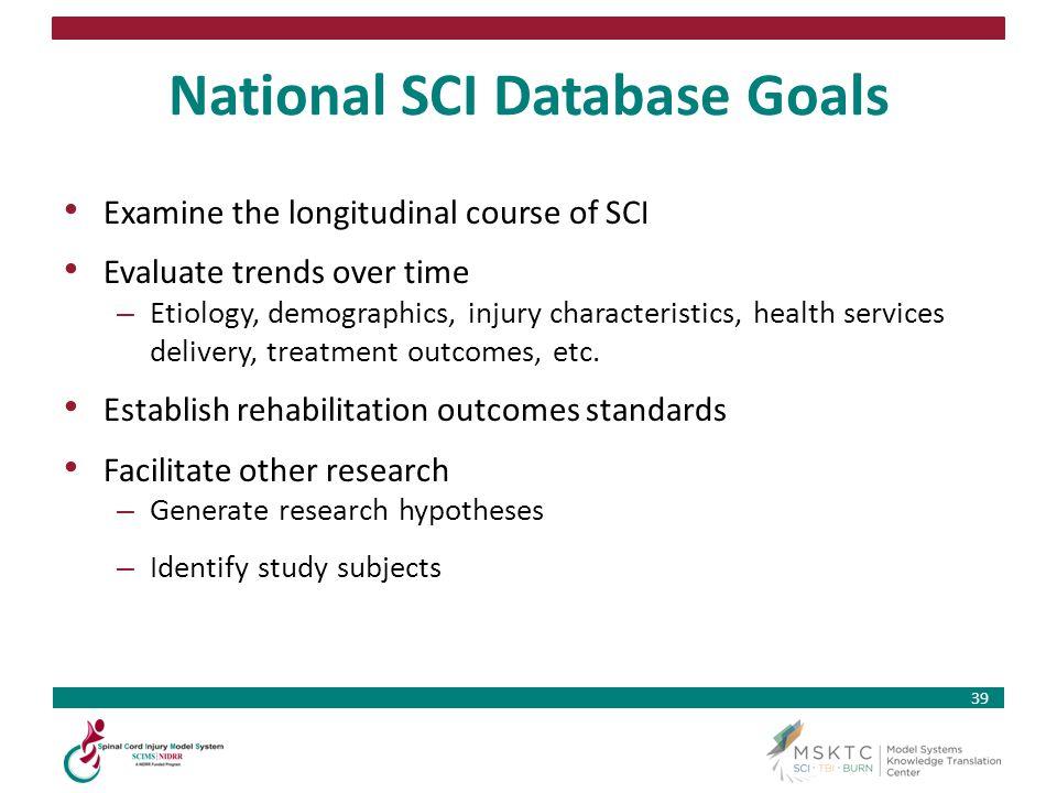 National SCI Database Goals
