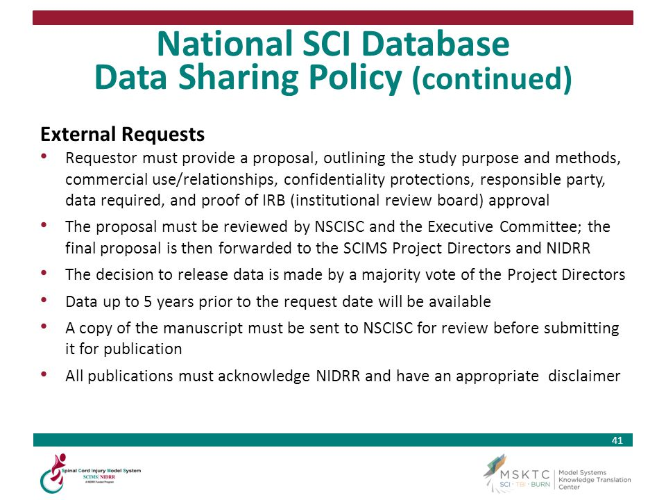 National SCI Database Data Sharing Policy (continued)