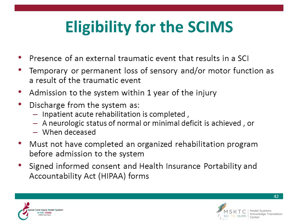 Eligibility for the SCIMS