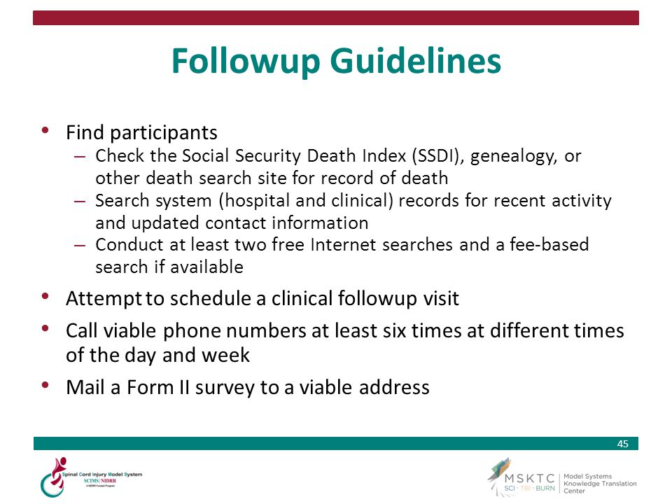 Followup Guidelines Find participants