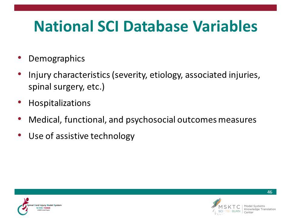 National SCI Database Variables