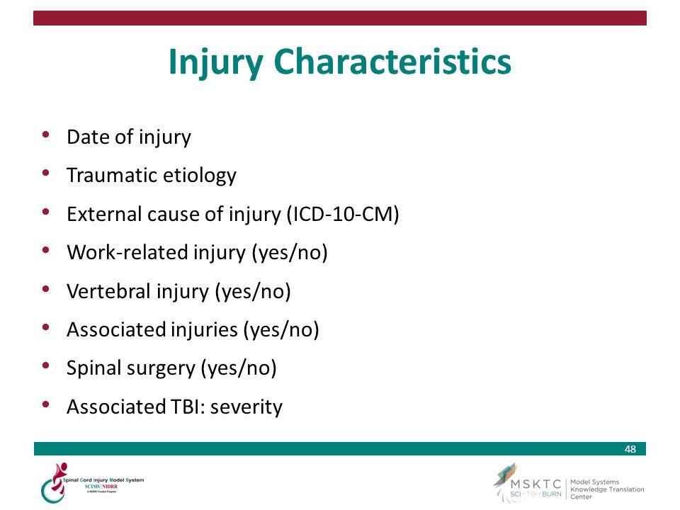 Injury Characteristics