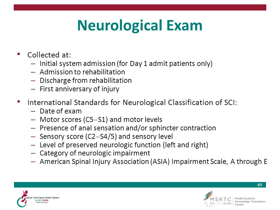 Neurological Exam Collected at: