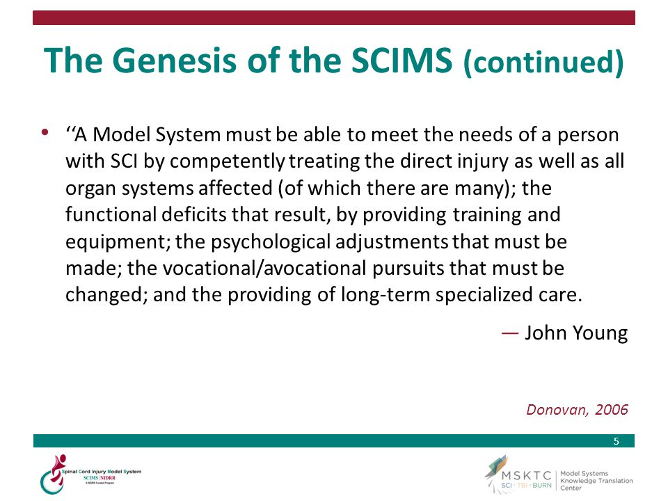 The Genesis of the SCIMS (continued)