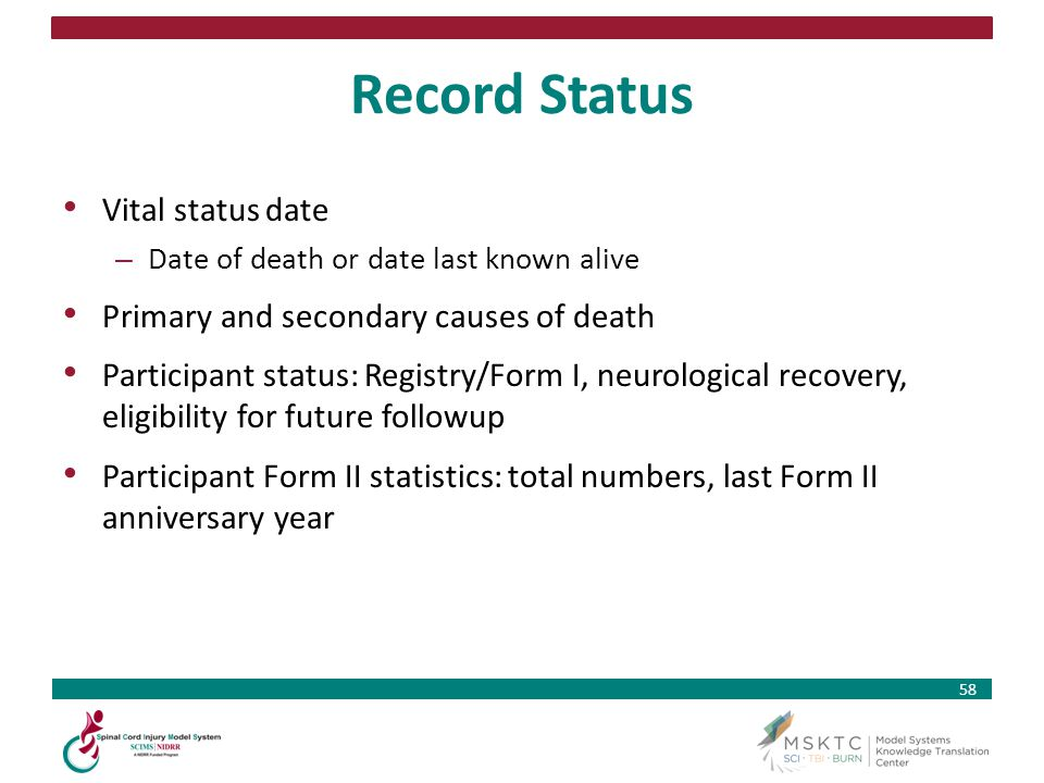 Record Status Vital status date Primary and secondary causes of death