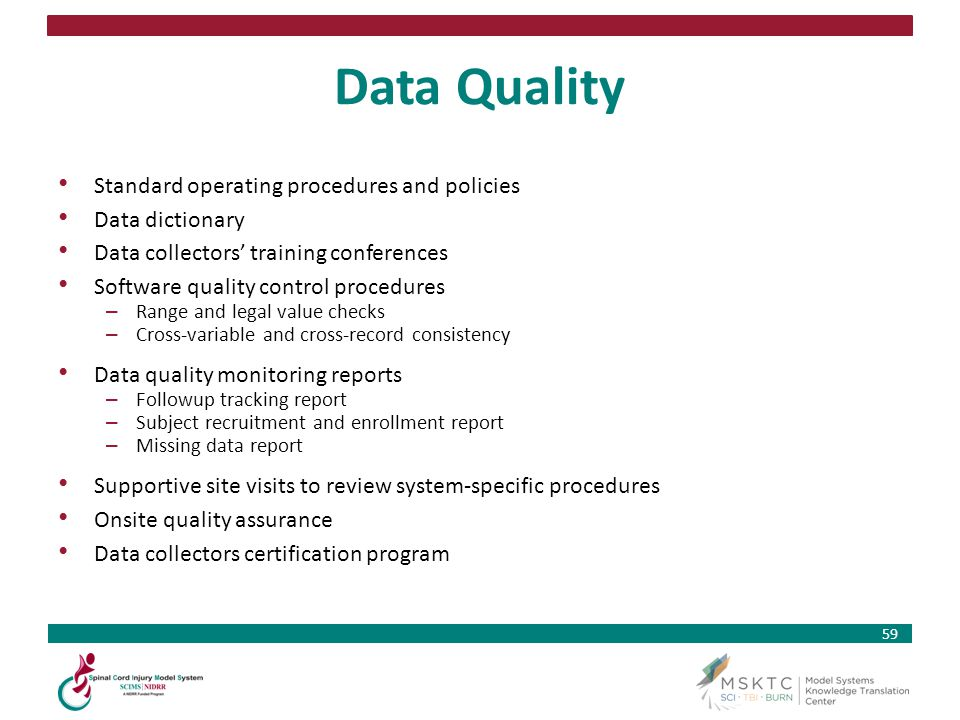 Data Quality Standard operating procedures and policies