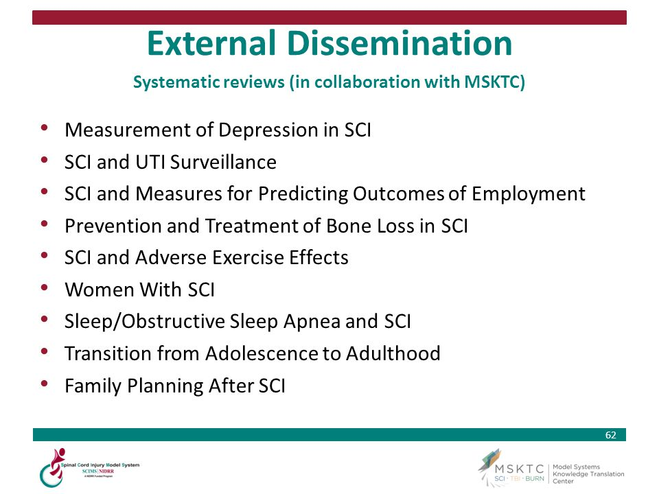 External Dissemination Systematic reviews (in collaboration with MSKTC)
