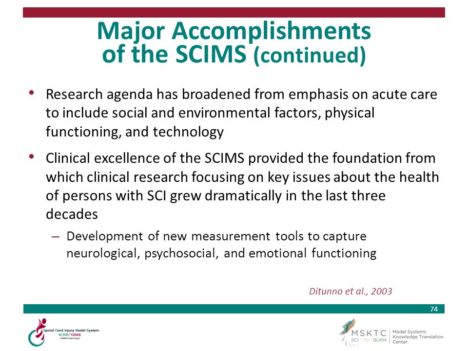 Major Accomplishments of the SCIMS (continued)