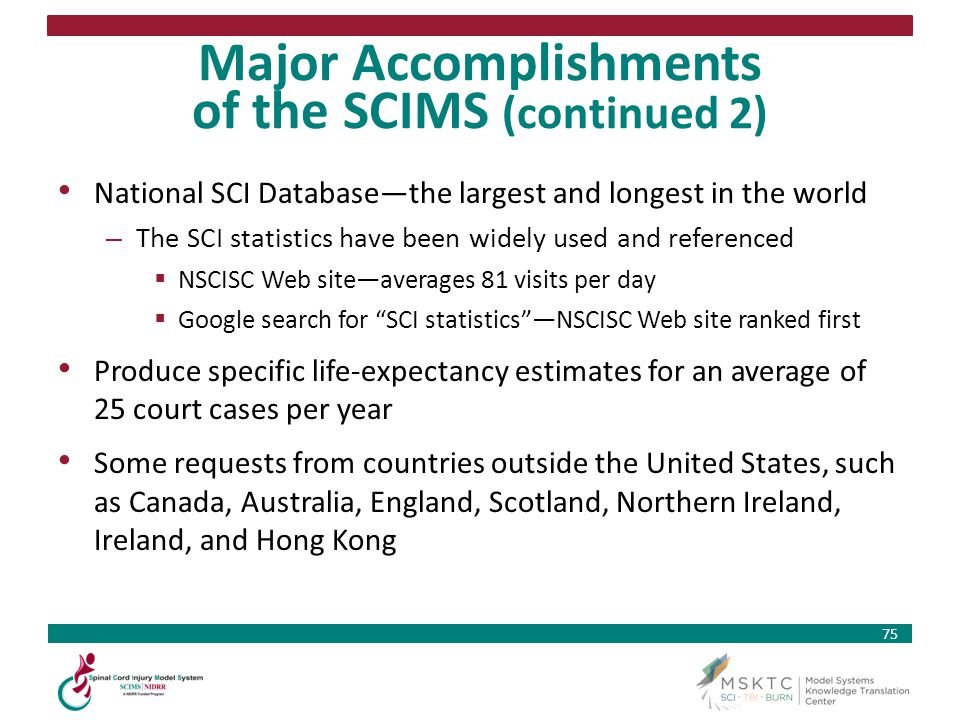 Major Accomplishments of the SCIMS (continued 2)